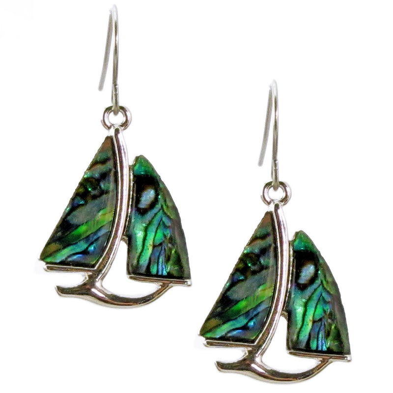 Storrs Wild Pearle  Abalone Shell Dangle Earrings Sailboat