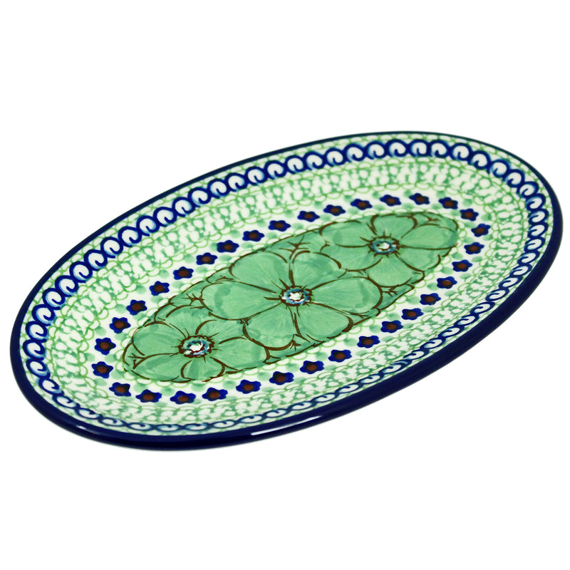 "Polish Pottery CA 8.5"" Oval Serving Plate - U408D"