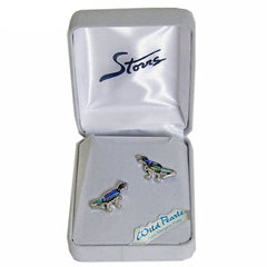 Storrs Wild Pearle  Abalone Shell Post Earrings Dinosaur