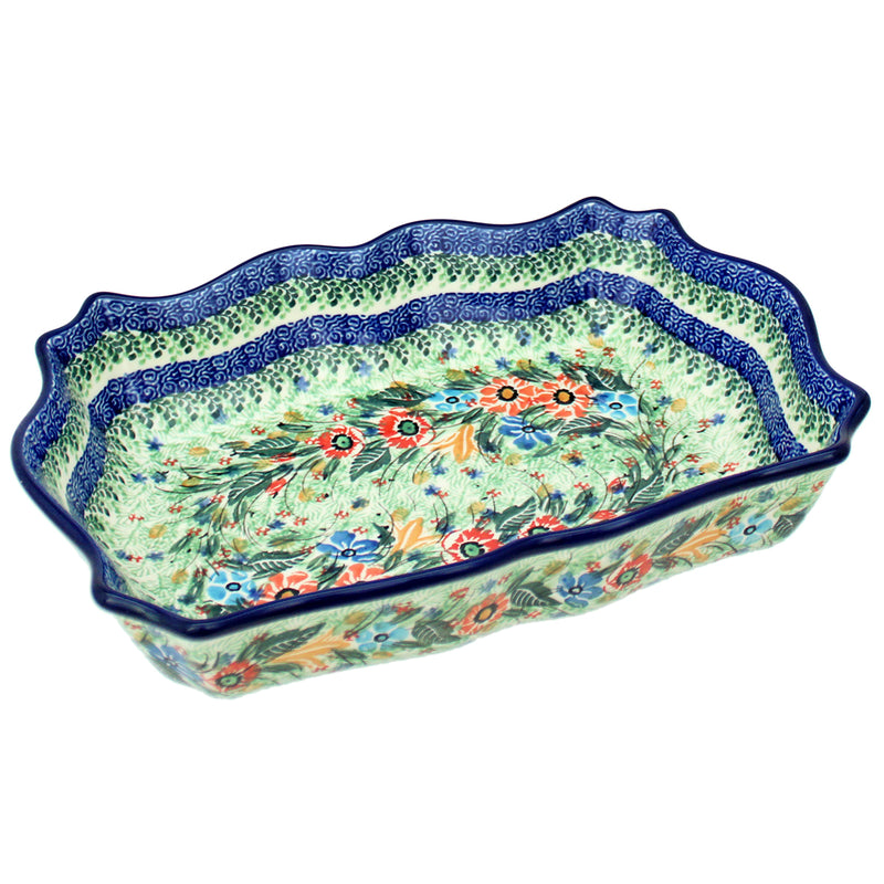"Polish Pottery CA Unikat 11.5"" Fancy Scalloped Baker - U2725"