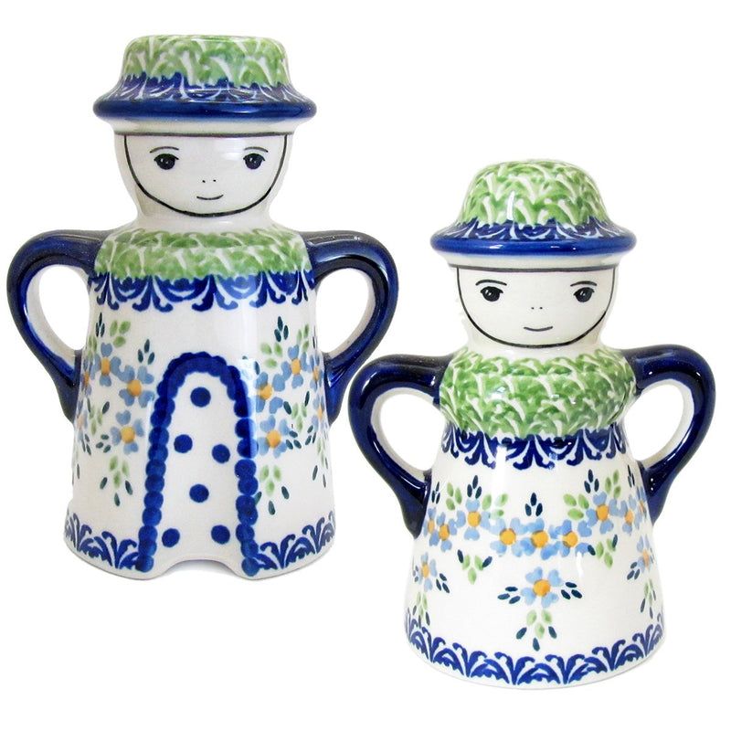 Polish Pottery 5'' Hand Painted Mom and Dad Salt and Pepper Shakers S131-F-Posies