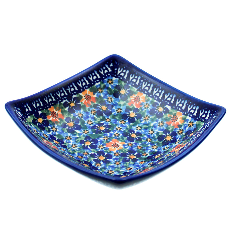 "Polish Pottery 5"" Square Dalia Bowl Unikat Series - U232"