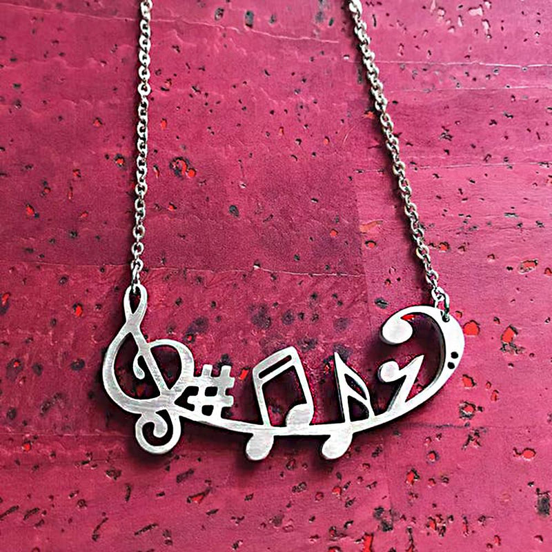 "Close2URHeart Stainless Steel 18"" Necklace - Music Symbols"