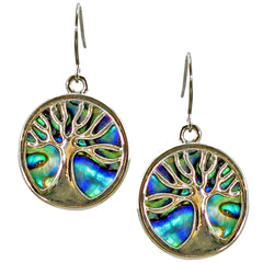 Storrs Wild Pearle  Abalone Shell Dangle Earrings Tree of Life