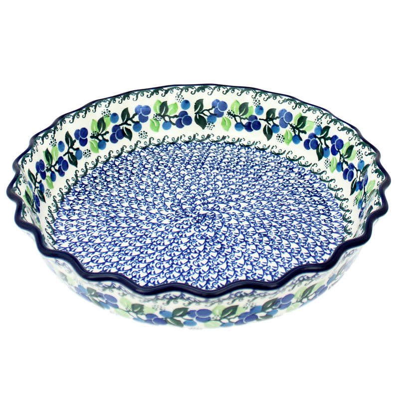 "Polish Pottery CA 11"" Deep Fluted Pie Dish Baker - 1416X"