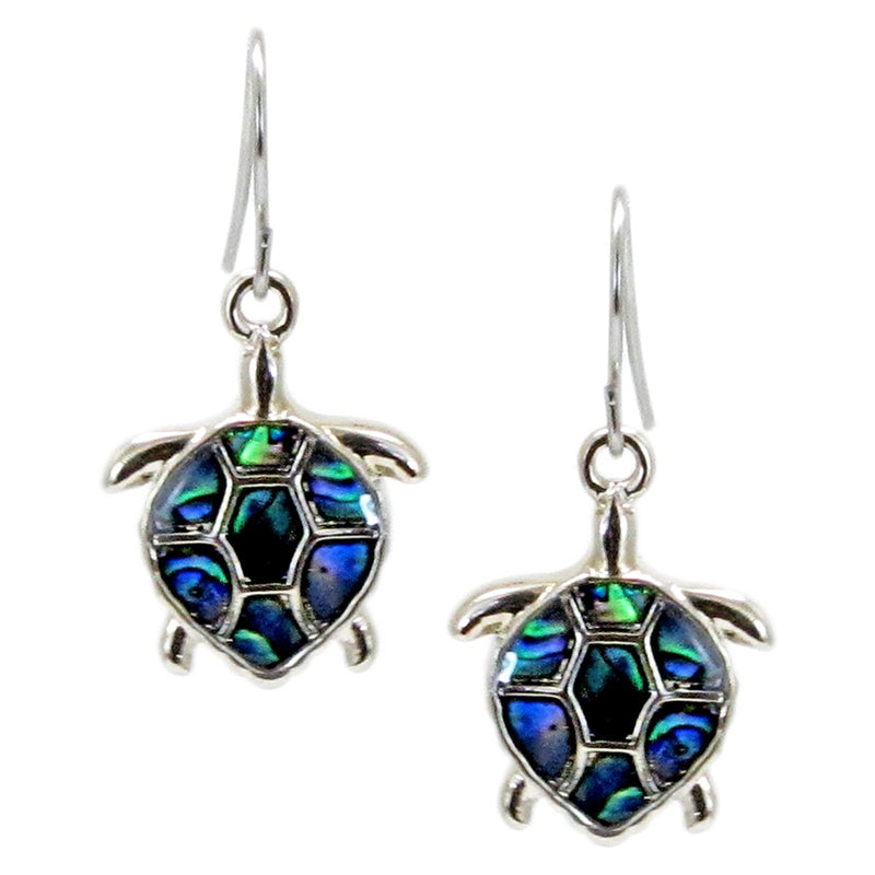 Storrs Wild Pearle  Abalone Shell Dangle Earrings Turtle Time