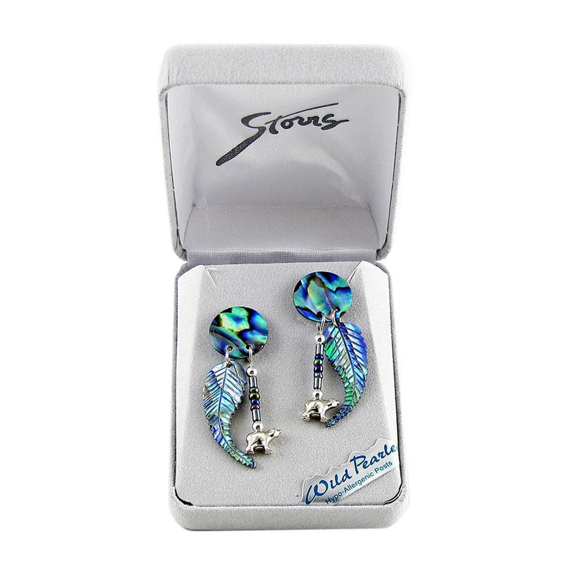 Storrs Wild Pearle  Abalone Shell Post Earrings Tribal Bears