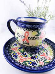 Polish Pottery Exclusive Breast Cancer Ribbon Pattern 12 oz Bubble Mug - Pink Dahlias