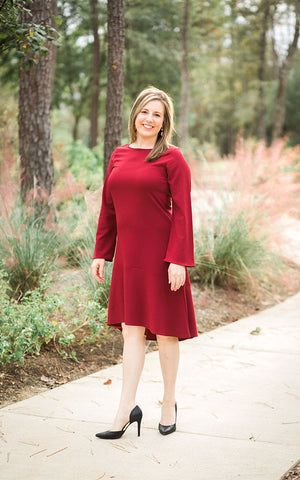 Perfect Holiday Dress, Burgundy - Rich in Radiance - 1
