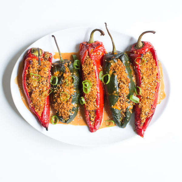 Garlic Gochujang Quinoa Stuffed Peppers
