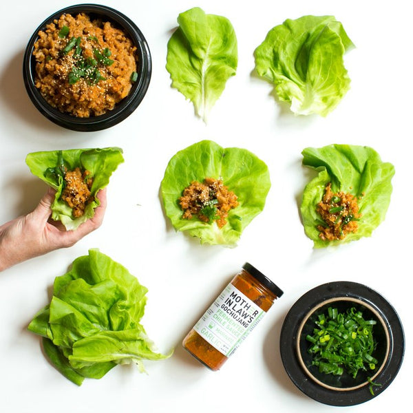 Garlic Gochujang Lettuce Wrappers with Seitan and Toasted Quinoa