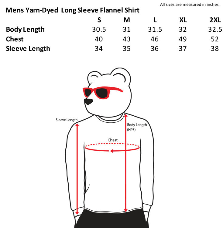 mens flannel size chart