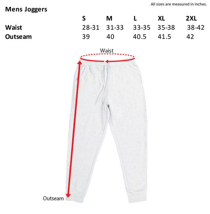mens joggers size chart