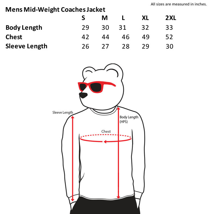 mens mid-weight coaches jacket size chart