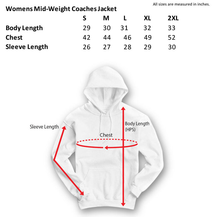 womens mid-weight coaches jacket size chart