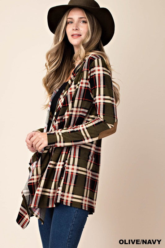 Plaid Hoodie Jacket with Elbow Patch