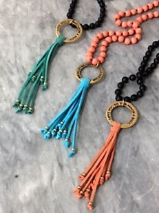 Beaded Necklace with Leather Tassel & Quote