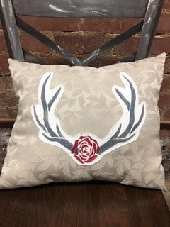 Antler & Rose Pillow by Paper & Lace