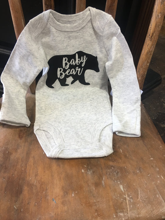 Baby Bear White Onesie