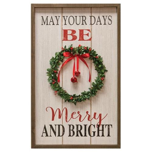 Merry & Bright Wreath Sign