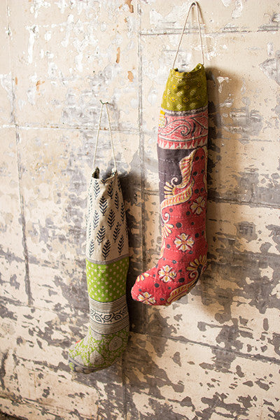 Long Kantha Christmas Stockings, assorted colors