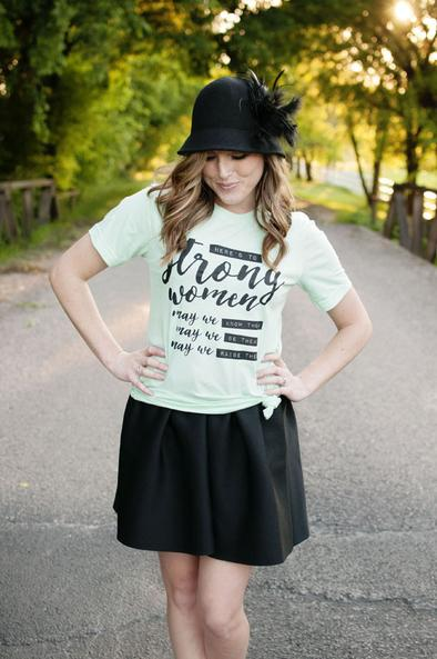 """Strong Women"" Shirt in Mint by Ruby's Rubbish"