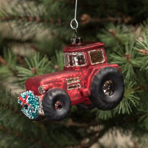 Mercury Glass Tractor Ornament