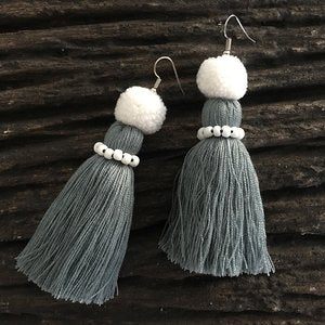 Tassel Earring with Bead and Tiny Pompom
