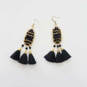 Crystal Bead Earrings with Tiny Tassels, assorted colors