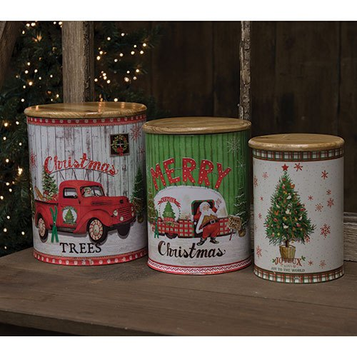 Set of Three Christmas Canisters
