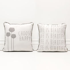 """Choose Happy"" Pillow Canvas"