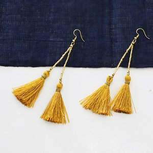 Tassel Earrings with Glass Beads, assorted colors