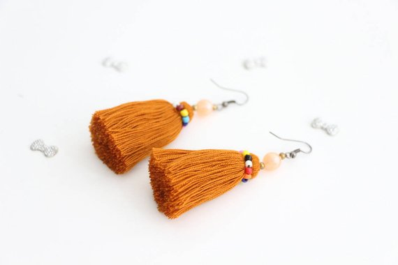 Bronze Gold Tassel Earrings