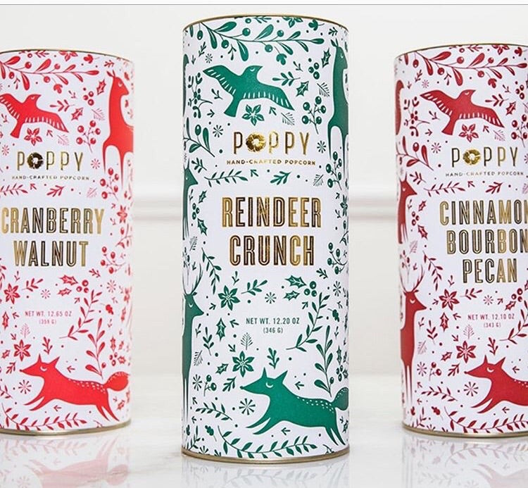 Holiday Favorites Popcorn Woodland Canisters, assorted flavors