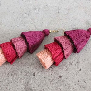 Large Four Layer Tassel Earrings, assorted colors