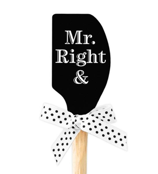"""Mr. Right & Mrs. Always Right"" Black Spatula"