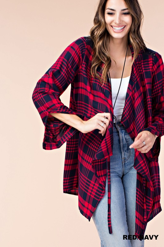 Plaid Cardigan with Lace Back