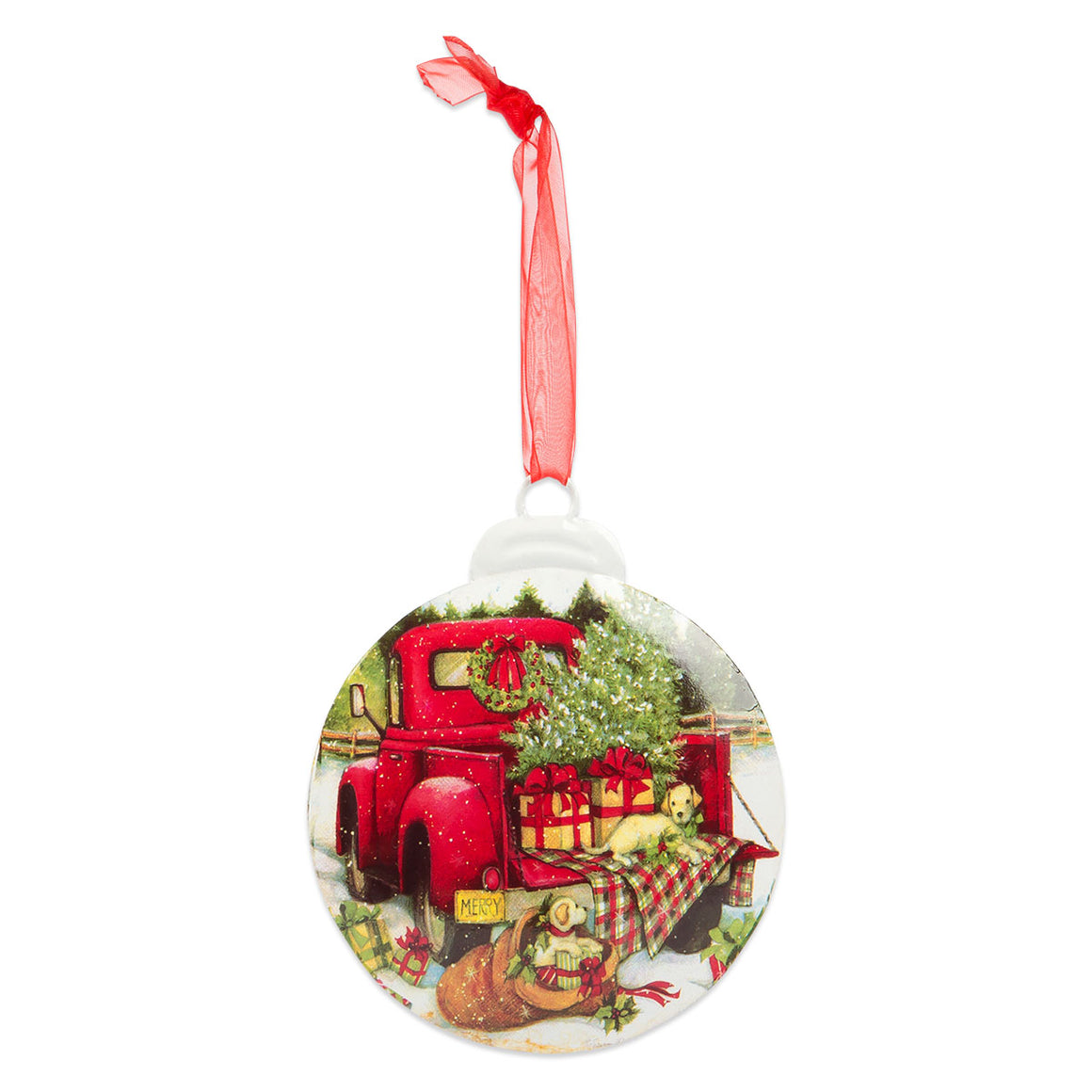 Red Farmland Truck Ornament