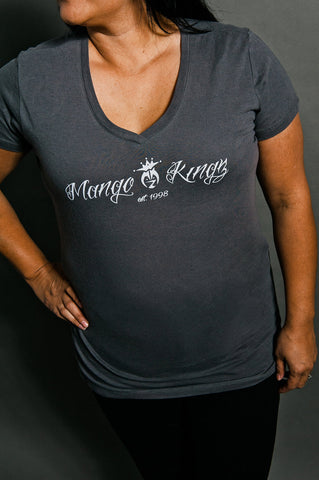 Ladies V-Neck Gray Tee