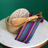 bread basket gift set with dish towel and salad tossers