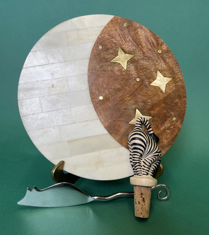 wood with stars cheese board, zebra wine stopper, mouse shaped cheese knife