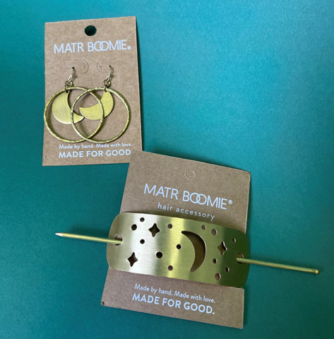 moon gift set gold earrings and hair pin