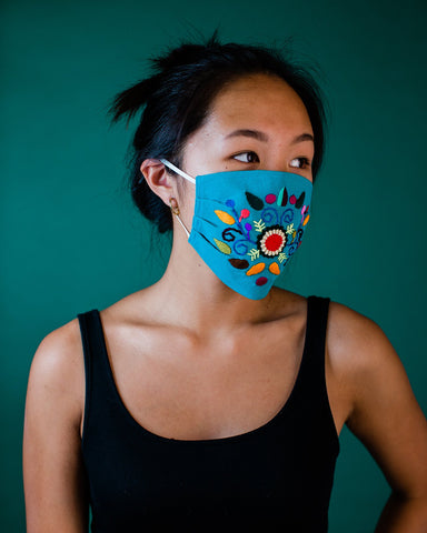 embroidered protective face covering hand stitched blue