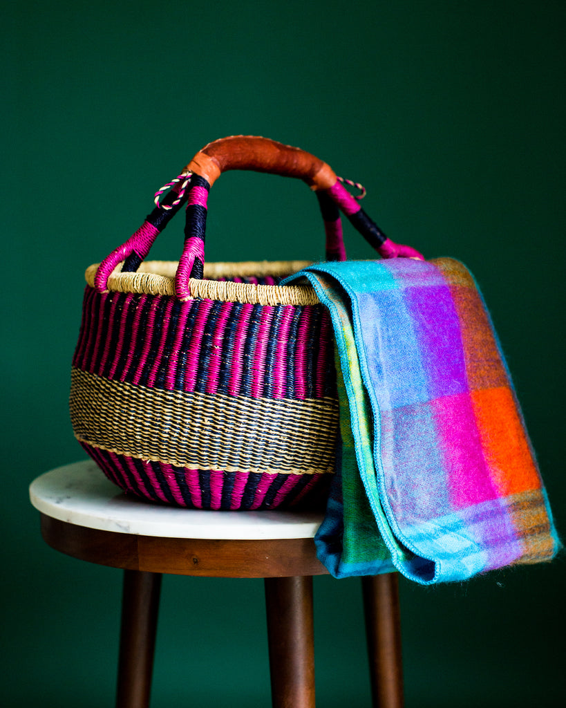 Fair Trade Basket and Blanket Gift Basket