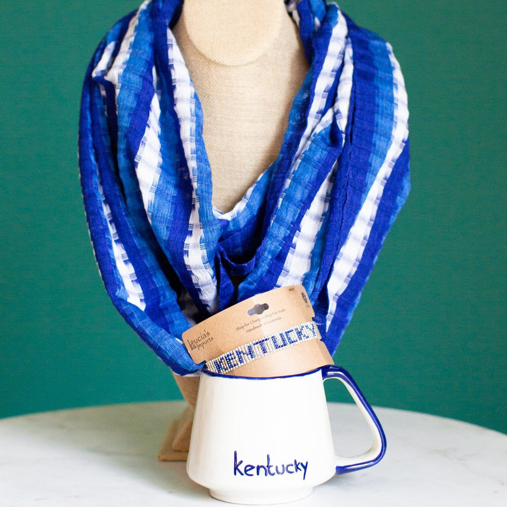 Kentucky Woman Accessories Scarf, Bracelet, Coffee Cup