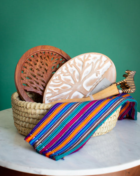 Fair Trade Home Gifts Zebra Wooden Serving Spoons, Dish Towel, Trivet, Bread Basket
