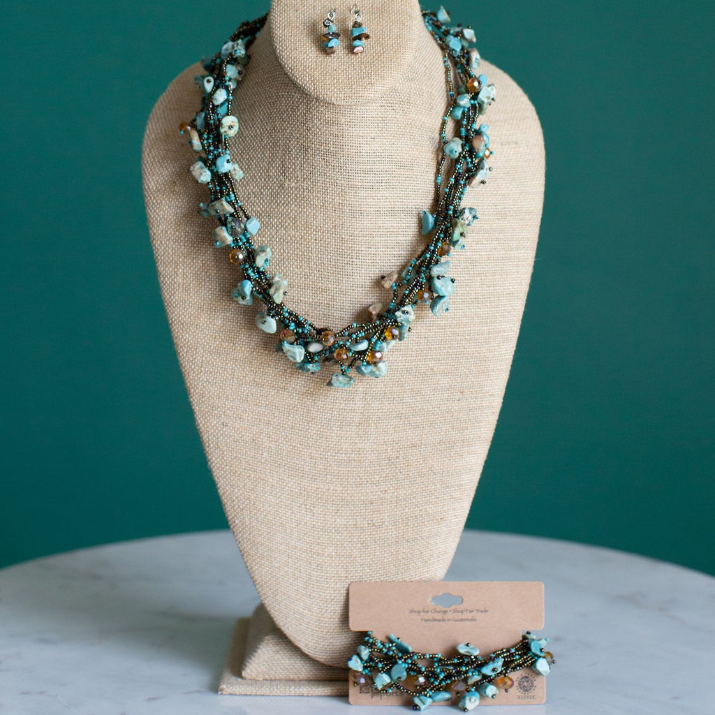 Fair Trade Chunky Jewelry Set Turquoise Brown