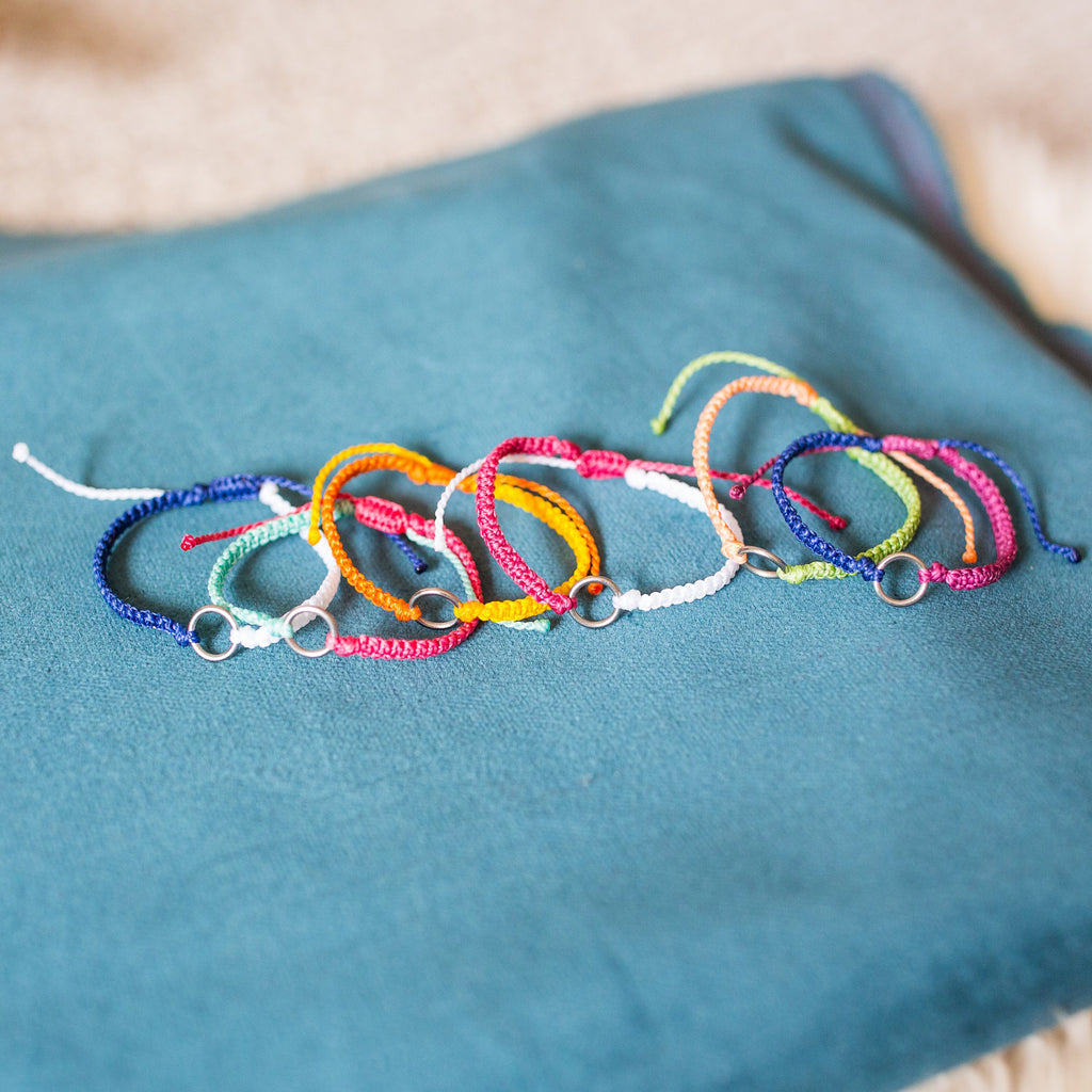 fair trade string bracelets set of 6 elements earth wind fire water stack