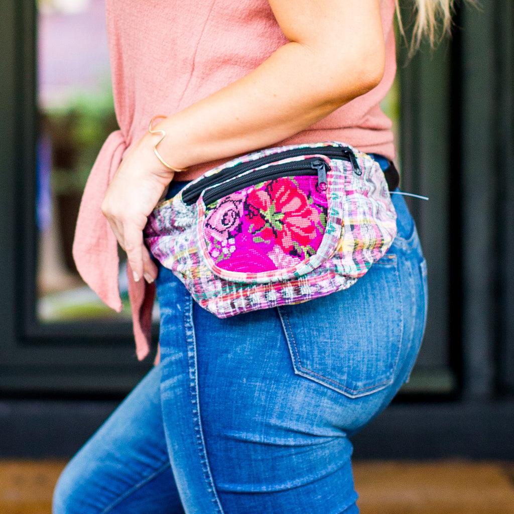 Lucia's World Emporium Fair Trade Handmade Guatemalan Upcycled Corte Fabric Fanny Pack