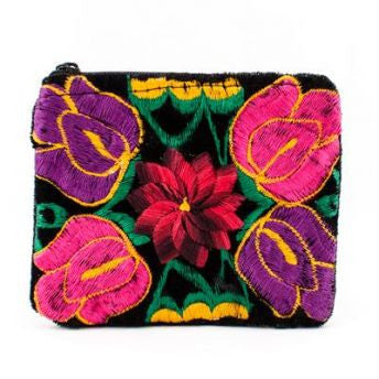 Lucia's World Emporium Fair Trade Handmade Guatemalan Velvet Embroidered Coin Bag